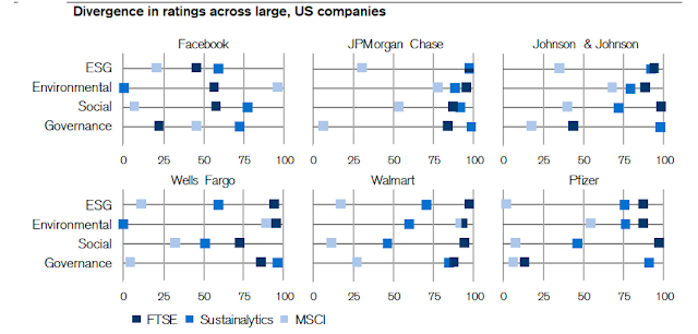 Divergence in ratings across large, US companies