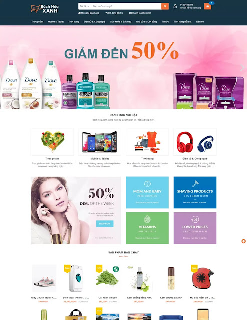 Chia sẻ miễn phí template blogspot bán hàng Bách Hóa Xanh