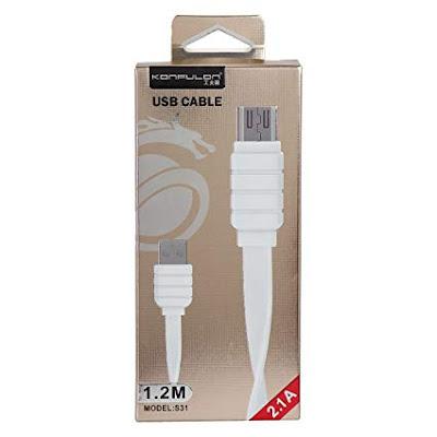 Câble USB Konfulon Maroc (V8) Micro S31 Fast charge (2.1A/1.2m) très bonne qualité chargement rapide
