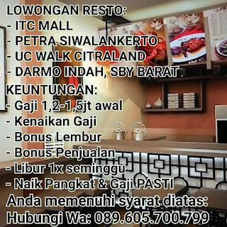 Karir Terbaru di Restaurant Surabaya Juni 2018