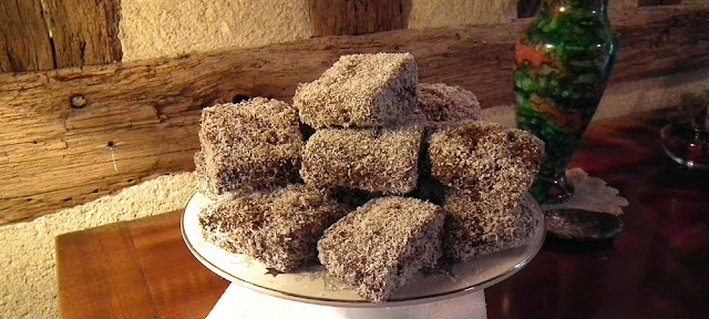 Platter of homemade lamingtons. Photo by Loire Valley Time Travel.