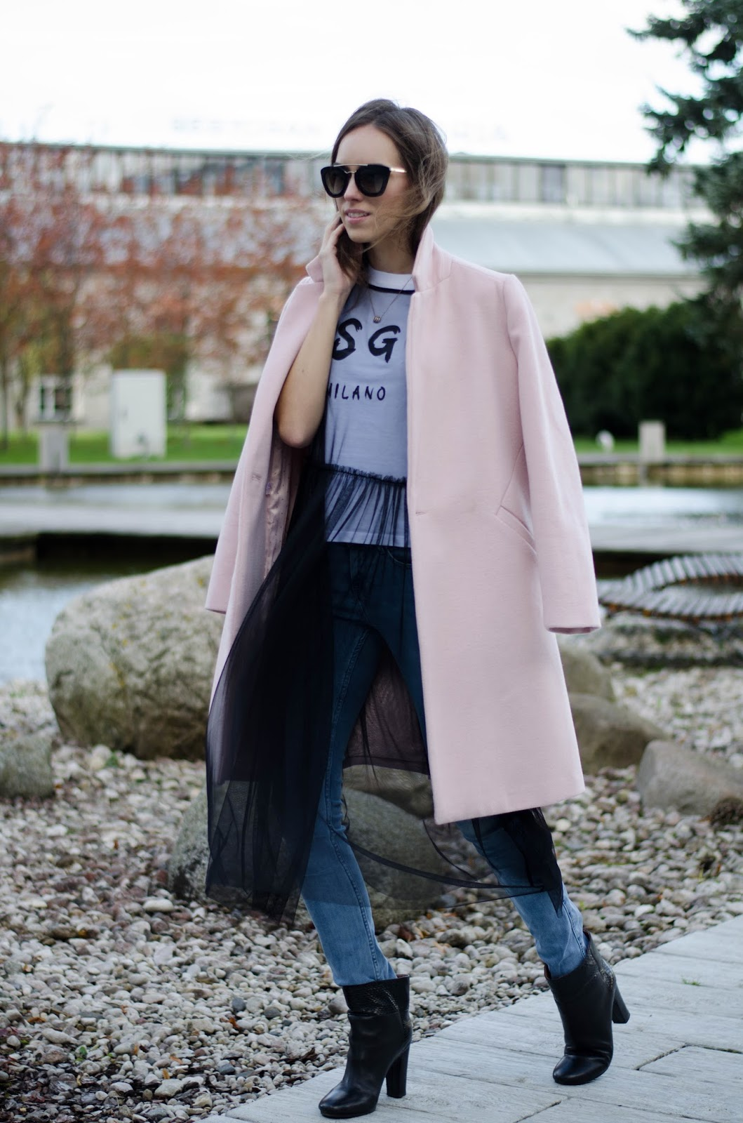 mesh dress jeans coat fall outfit
