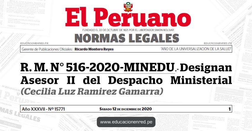 R. M. N° 516-2020-MINEDU.- Designan Asesor II del Despacho Ministerial (Cecilia Luz Ramirez Gamarra)