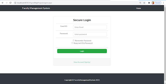 Payroll Login page