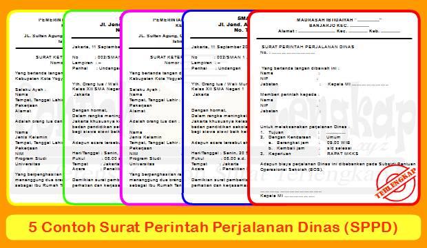Inilah beberapa contoh surat perjalanan dinas (SPPD) untuk keperluan sekolah, perusahaan, instansi dan lainnya. Temukan filenya dalam format doc di sini.