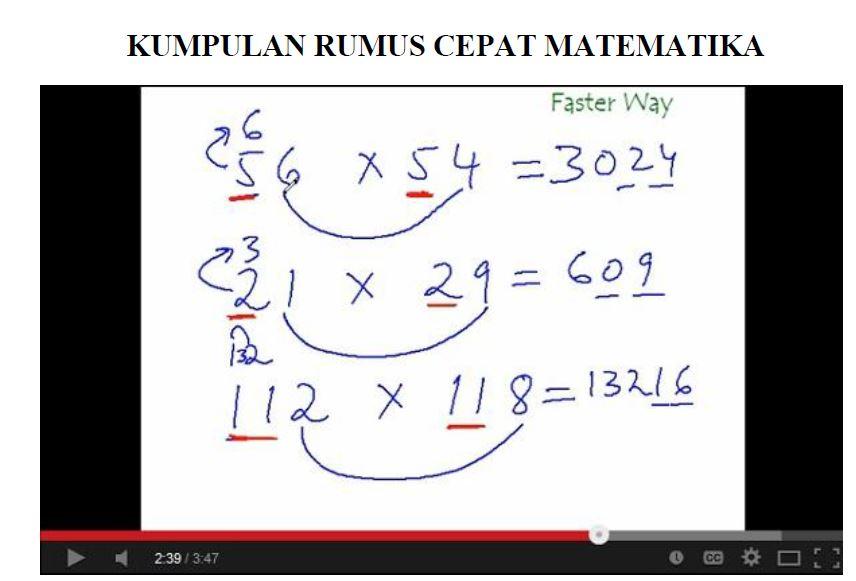 Kumpulan Rumus Cepat Hitung Matematika Dasar Revisi Terbaru
