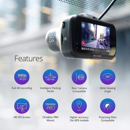 Nextbase 322GW 1080p Car Dash Cam