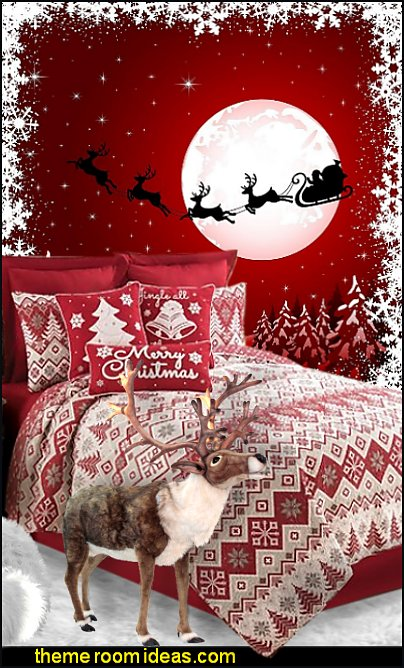 Santa Claus is Coming to Town merry Christmas bedding reindeer toys santa mural xmas bedding christmas decorating