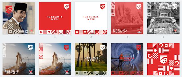 kumpulan desain media sosial Instagram Dirgahayu RI 75 Kemerdekaan Indonesia