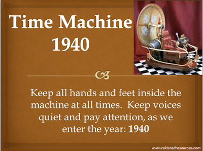 Free time machine power point to give students historical understanding of the year 1940 from Raki's Rad Resoures.