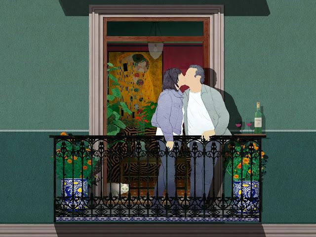 balcon, pareja , beso