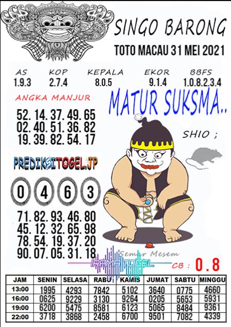 Syair Top Singo Barong Toto Macau Senin 31 Mei 2021