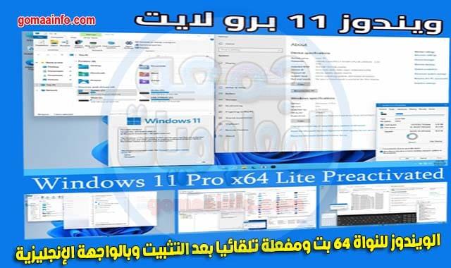 ويندوز 11 برو لايت النسخة المسربة Windows 11 Pro Lite