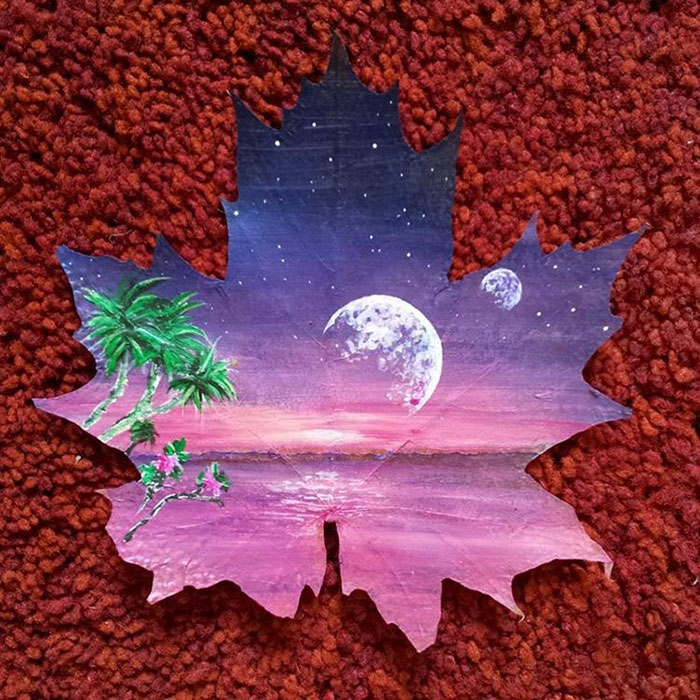 painting on maple leaves ~ easy arts and crafts ideas