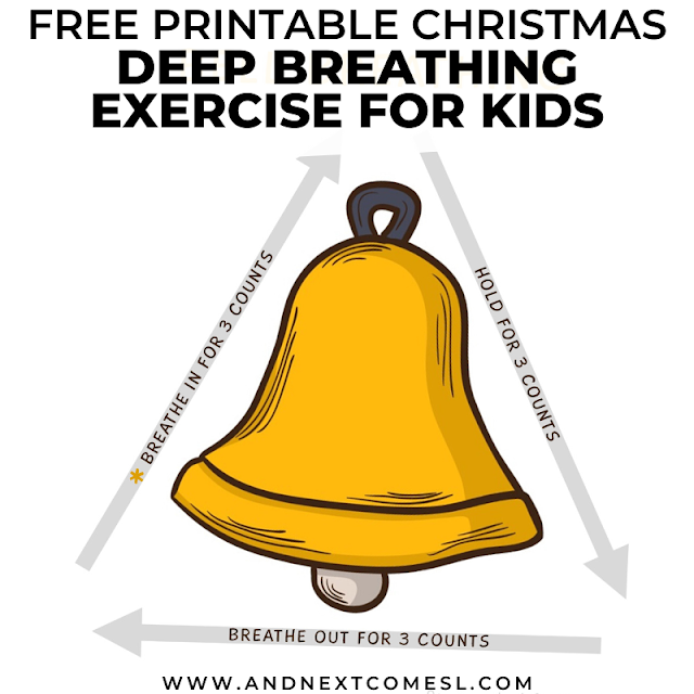 Christmas themed breathing exercise for kids with free printable poster