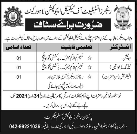 Jobs in Pakistan Rangers Jobs 2021 Latest