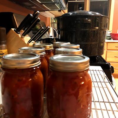 Glass jars of salsa