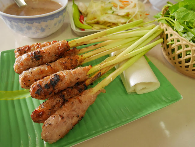 Nem lui or Delicious pork skewer of Hue, Vietnam