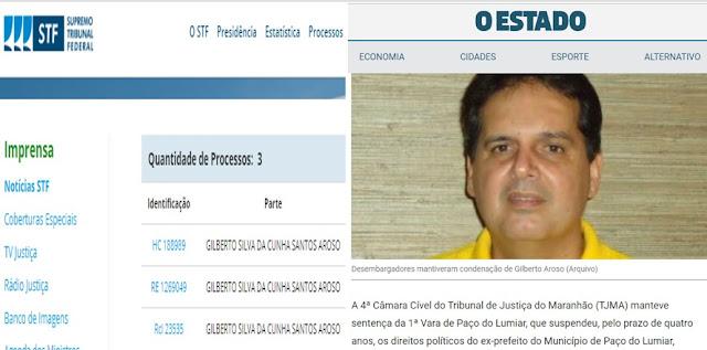 STF nega pedidos de Gilberto Aroso para se livrar de condenação criminal