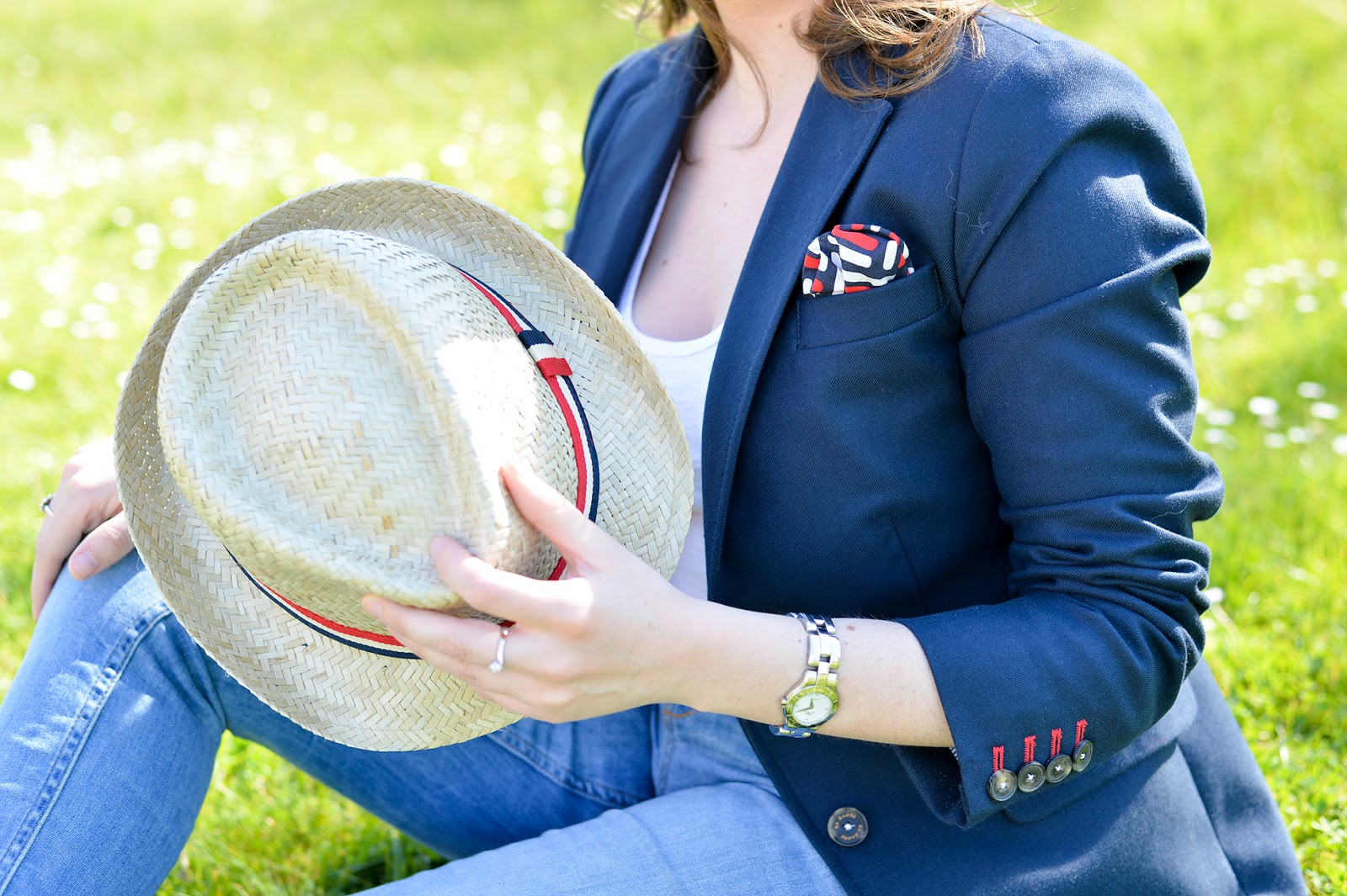 straw hat navy blazer oxford shoes fashion blogger outfit