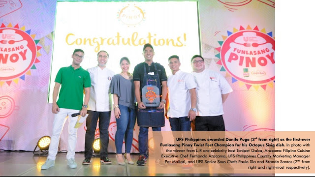 UFS Philippines awards Danilo Puga (3rd from right) as the first-ever Funlasang Pinoy Twist Fest Champion for his Octopus Sisig dish. In photo with the winner from L-R are celebrity host Tonipet Gaba, Aracama Filipino Cuisine Executive Chef Fernando Aracama, UFS Philippines Country Marketing Manager Pat Mallari, and UFS Senior Sous Chefs Paulo Sia and Brando Santos (2nd from right and right-most respectively).