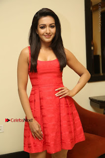 Actress Catherine Tresa Latest Pos in Red Short Dress at Intex Air Conditioners Launch  0023.jpg