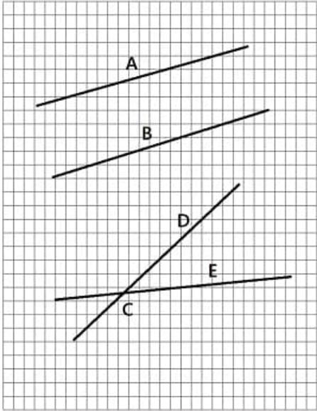 pasangan garis sejajar dan berpotongan pada kertas berpetak
