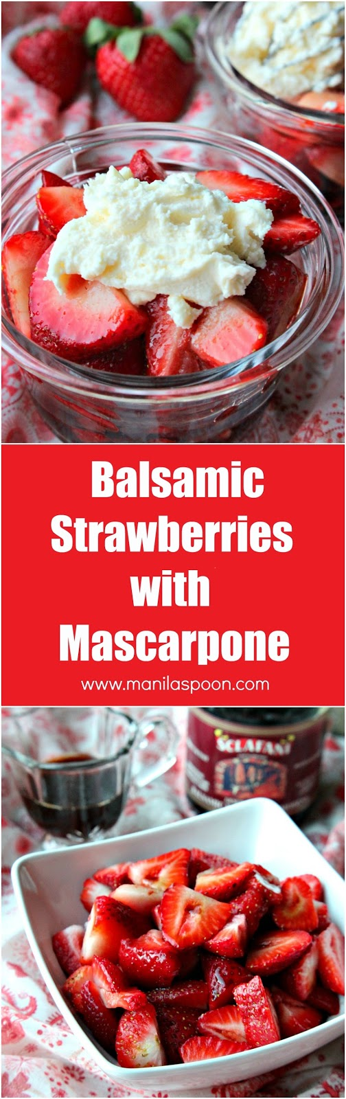In 10 minutes or less, you have a delicious, fuss-free, spring-perfect dessert that will delight everyone! Balsamic Strawberries with Mascarpone | manilaspoon.com