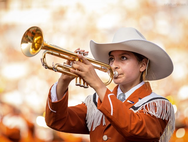 The University of Texas Longhorn Band at the football game between the Texas Longhorns and Louisiana Ragin' Cajuns at DKR Texas Memorial Stadium in Austin, Texas