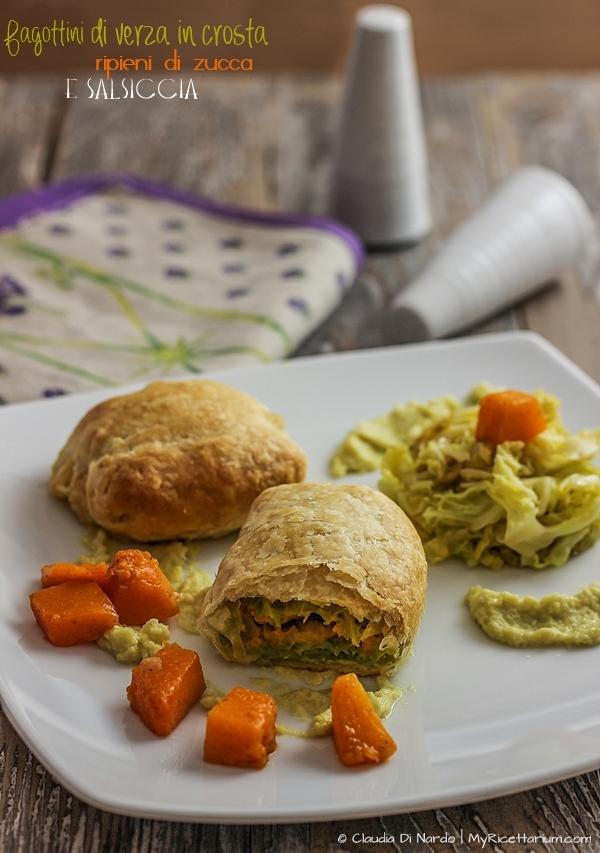 Involtini di verza in crosta ripieni di zucca e salsiccia