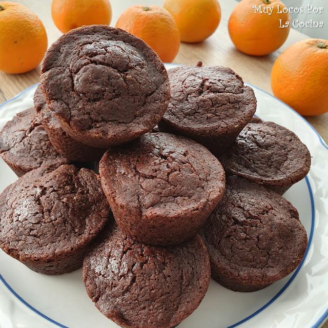 Muffins de Chocolate y Naranja (sin huevo, sin lactosa, sin mantequilla)