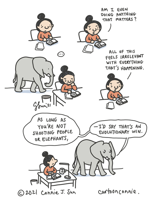 Elephant comic strip about gun violence in America, sketchbook drawing, illustration by Connie Sun, cartoonconnie