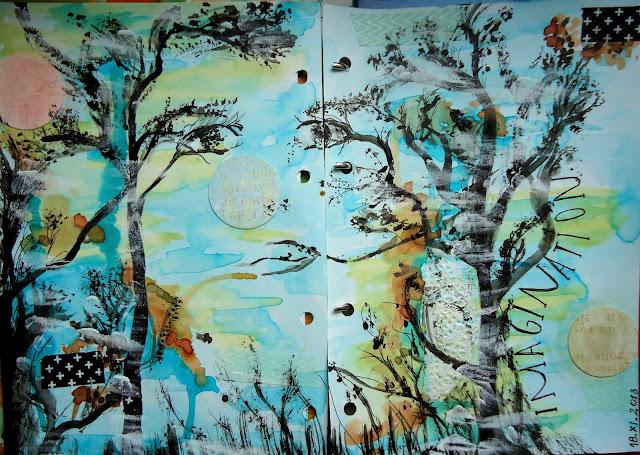 imaginacja, malowane drzewa, ciekawe tło