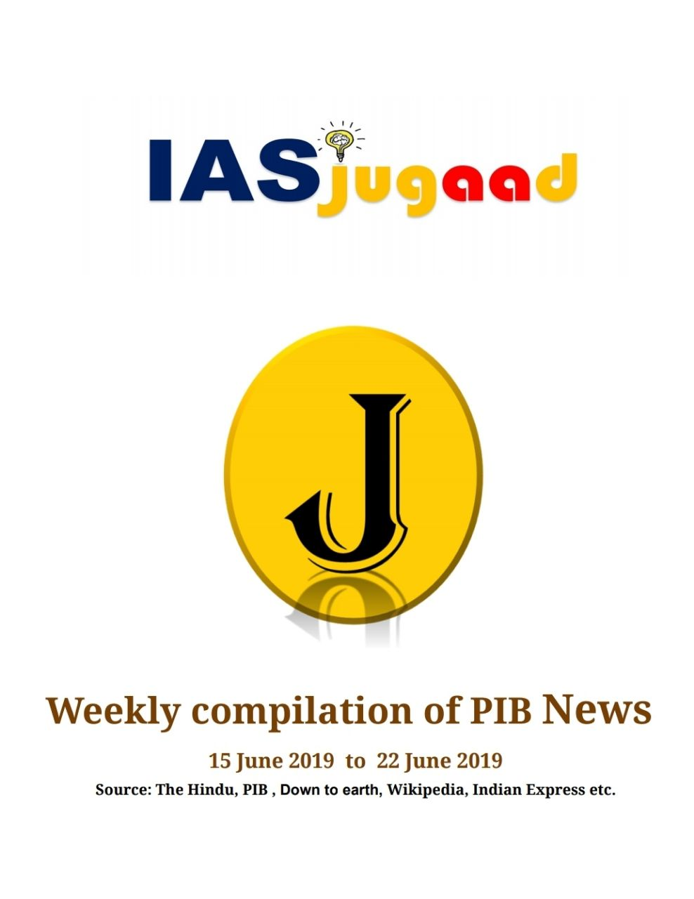 IASjugaad Weekly Current Affairs PDF Download - JUNE 2019