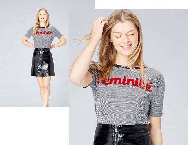 Camiseta de rayas con la palabra féminité, comprada en Amazon