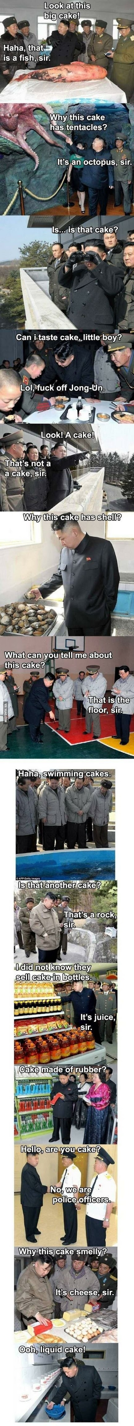 Funny Kim Yong-un Likes Cake Picture