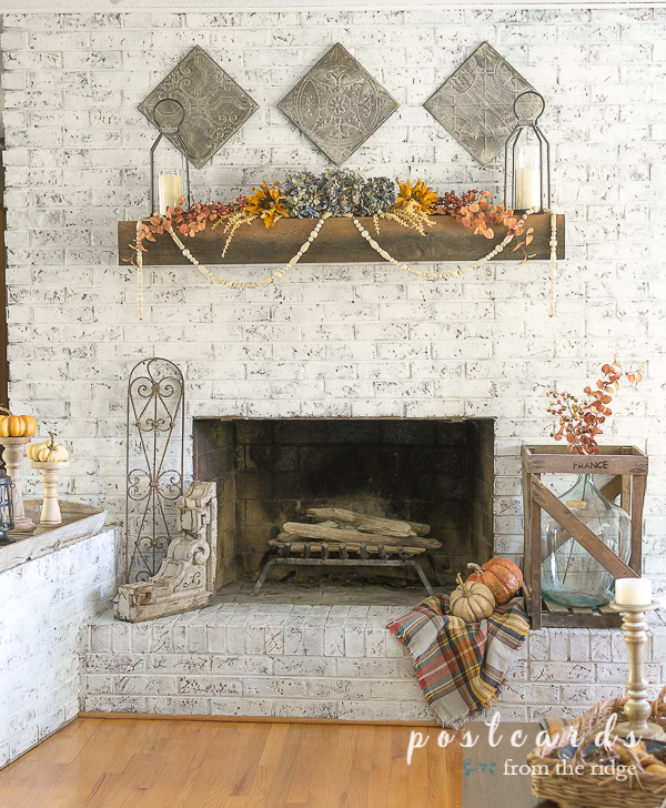 Fall Fireplace Decor With Warm Muted Colors Postcards From