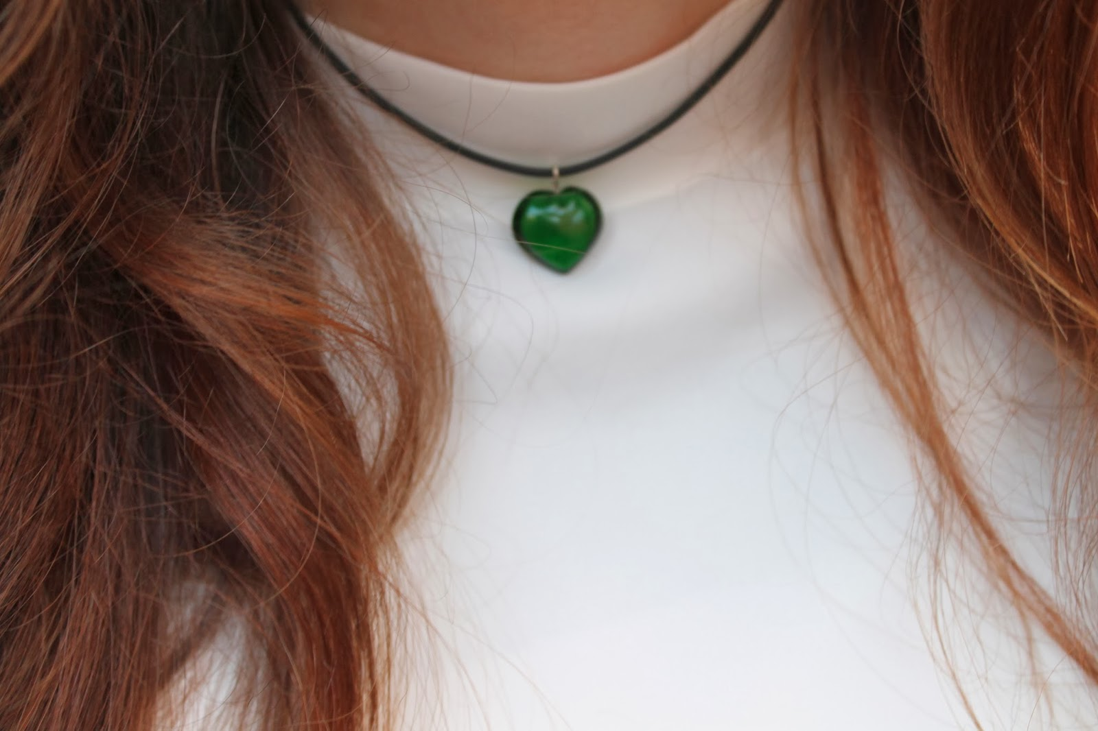 90s choker, nineties style necklace, heart choker, glass heart, curly hair, auburn curls, enrapture totem styler