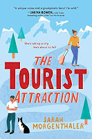 Book cover image for The Tourist Attraction: cartoony snow covered mountain with heroine pulling suitcase at the top and the hero and his black and white dog in the bottom left corner.