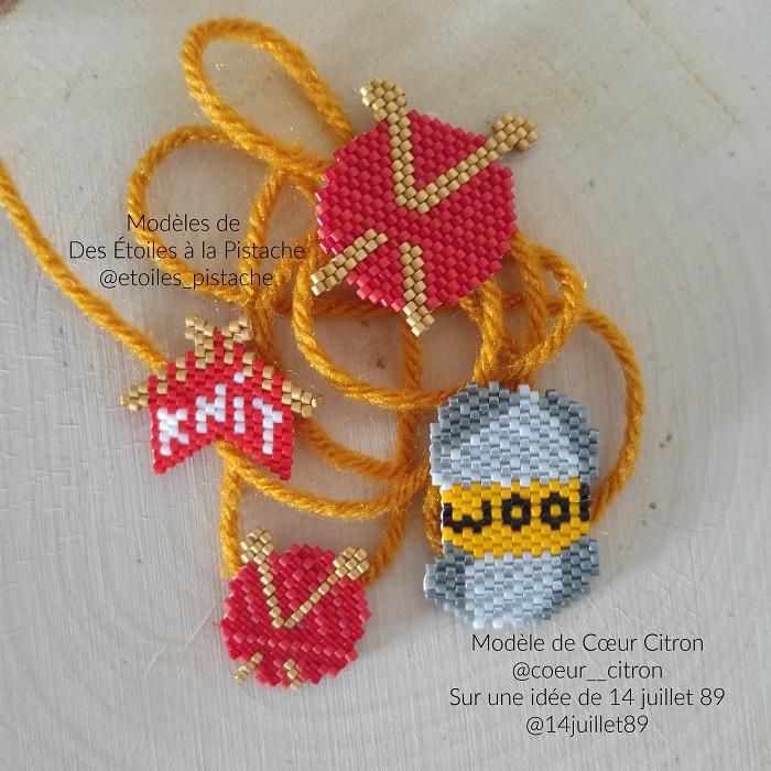 Pelotes en perles Miyuki modèle de Des Etoiles à la Pistache et Coeur Citron tissés par Hello c'est Marine