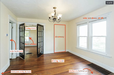 annotated color photo of dining room and living room of Sears Silverdale in Paris Kentucky