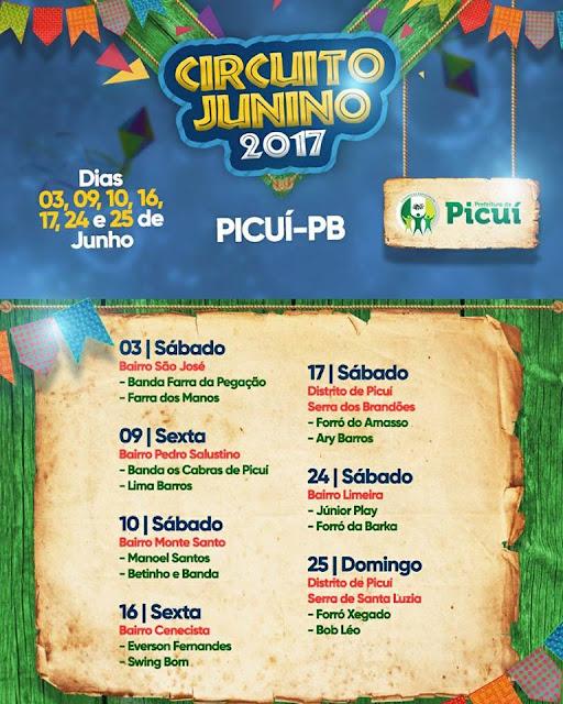 Prefeitura de Picuí realiza o Circuito Junino 2017; confira atrações