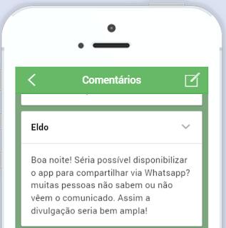 Comentário do Eldo no aplicativo Horários Move Morro Alto. Ele sugeriu um link para compartilhamento pelo WhatsApp