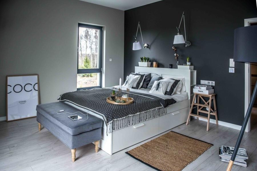 wystrój wnętrz, wnętrza, urządzanie mieszkania, dom, home decor, dekoracje, aranżacje, styl skandynawski, scandinavian style, szarości, szary, grey, czerwona cegła, otwarta przestrzeń, sypialnia, bedroom