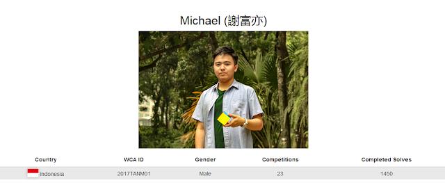 Profile akun WCA Mihcael yang merupakan peringkat ke-dua nasional rubik clock kategori single