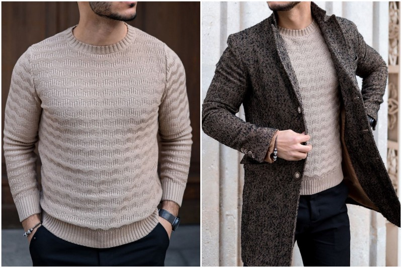 A man in crewnck sweater.