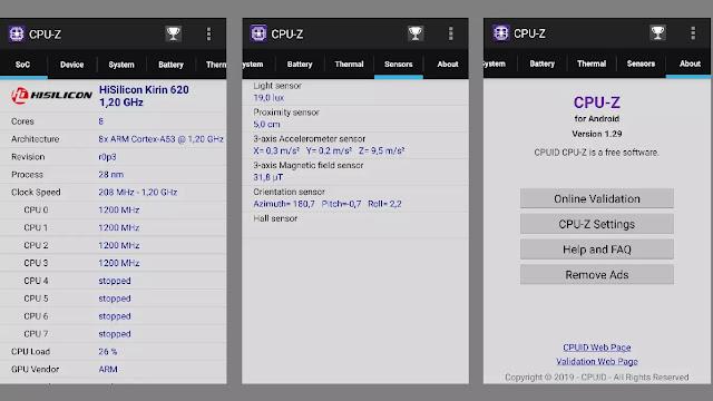 Melihat sensor hp android dengan CPUZ