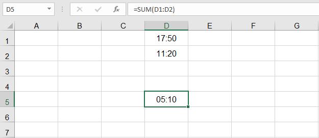 حل مشكلة جمع الوقت في Excel