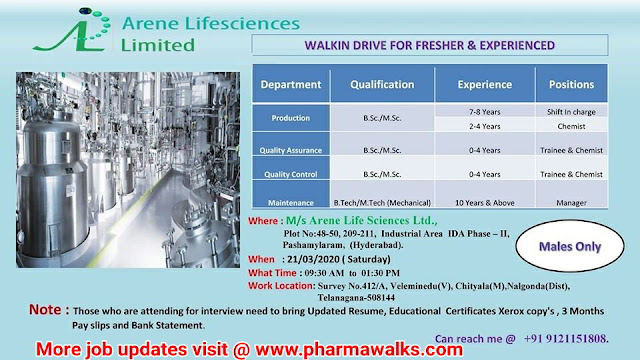 Arene Life Sciences walk-in interview for Freshers and Experienced candidates on 21st Mar' 2020
