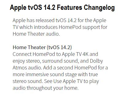 Apple tvOS 14.2 Features Changelog